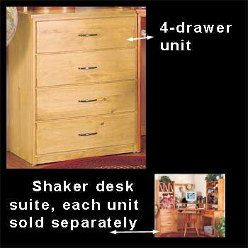 spec-<PRE>Shaker Honey Solid Pine Shaker 4 Drawer Unit Honey Pine 30 in. H Machi</PRE>