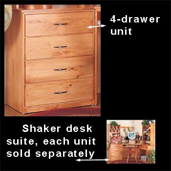 spec-<PRE>Office Desk Heirloom Solid Pine Shaker 4 Drawer </PRE>