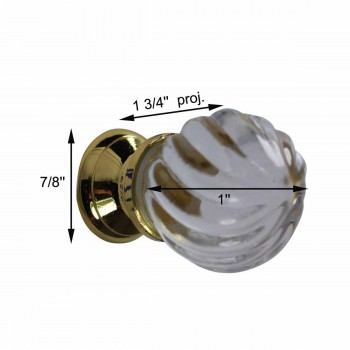 spec-<PRE>Cabinet Knob Clear Glass 1&quot; Dia W/ Brass Back </PRE>