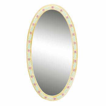 Victorian Vanity Mirror Oval Poly Flower Frame 18220list