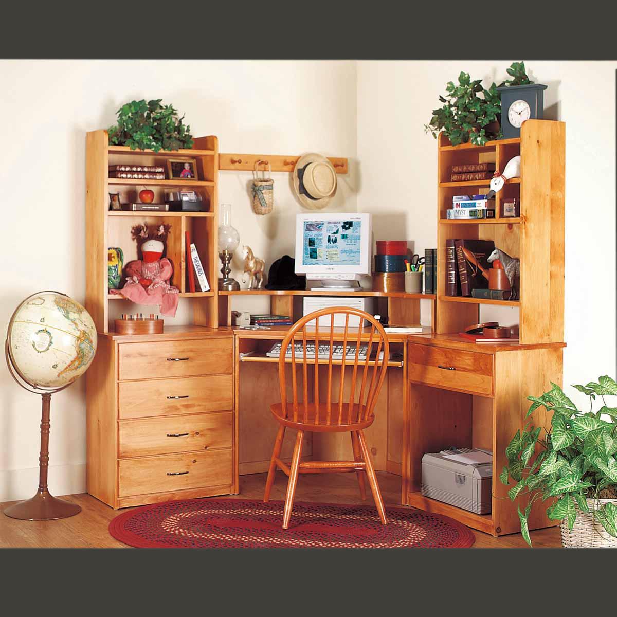 Office Desk Unfinished Solid Pine Printer Stand 1 Drawer