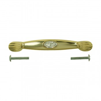 <PRE> Vintage Cabinet Pull Gold/Glass 4 3/8inch </PRE>zoom7