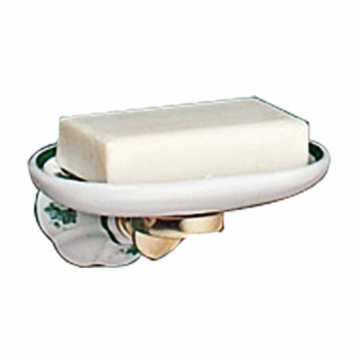 Vintage wall mount soap dish white green ivy porcelain tray for White ceramic bathroom tray