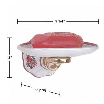 spec-<PRE>Vintage Wall Mount Soap Dish for Shower Mauve Floral Porcelain Tray </PRE>