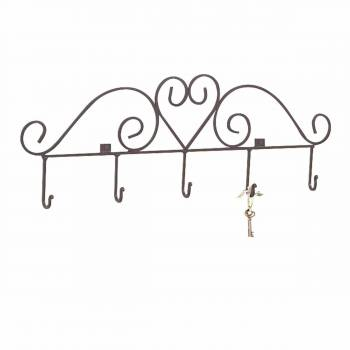 <PRE> Key Hook Rack Heart Forged Black Iron </PRE>zoom1