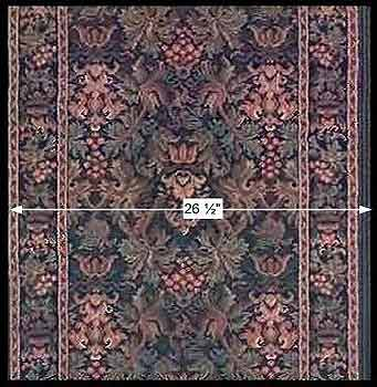 spec-<PRE>Runner Area Rug 2' 3&quot; Wide, Sold by Foot Blue Olefin  </PRE>