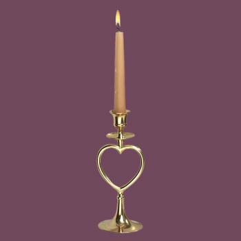 <PRE>Candlesticks Bright Brass Heart Candlestick Holder 8inchH </PRE>zoom2
