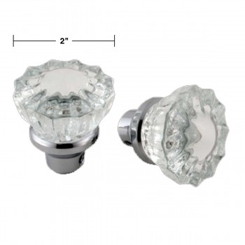 spec-<PRE>Pair Clear Glass Door Knob Chrome Shanks  </PRE>