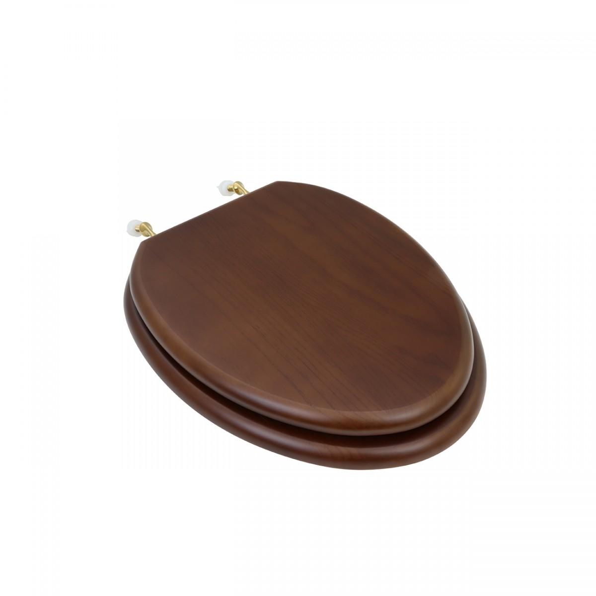 Toilet seat elongated solid wood dark oak brass hinge for Toilet seat