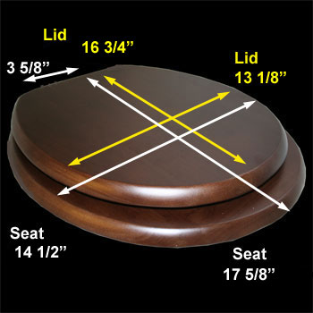 spec-<PRE>Toilet Seat Elongated Solid Wood Dark Oak Brass Hinge </PRE>