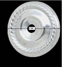 "spec-<PRE>Cabinet Knob Rosette Bright Chrome 1 1/4"" Roped </PRE>"