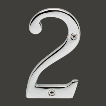 <PRE>Cast Solid Brass 3 7/8inch Address House Number '2' Chrome </PRE>zoom2