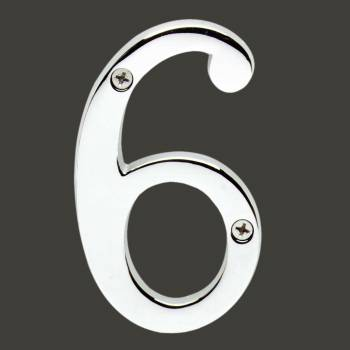 <PRE>Cast Solid Brass 3 7/8inch Address House Number '6' '9' Chrome </PRE>zoom2