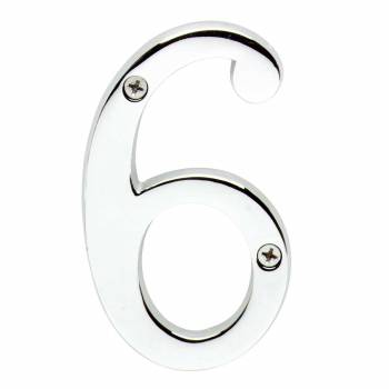 <PRE>Cast Solid Brass 3 7/8inch Address House Number '6' '9' Chrome </PRE>zoom1