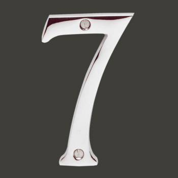 <PRE>Cast Solid Brass 3 7/8inch Address House Number '7' Chrome </PRE>zoom2