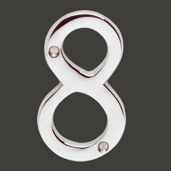 "spec-<PRE>Cast Solid Brass 3 7/8"" Address House Number '8' Chrome </PRE>"