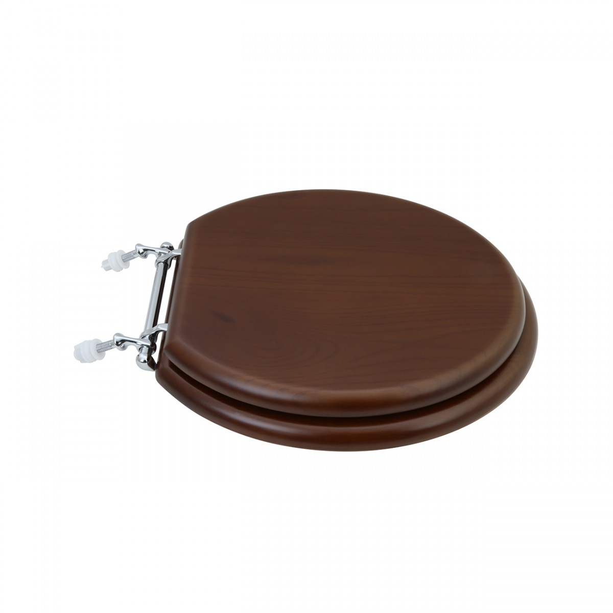 Toilet Seat Round Solid Wood Dark Oak Chrome Hinge wood toilet seats toilet seat covers Round Toilet Seat