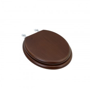 Toilet Seat Round Solid Wood Dark Oak Chrome Hinge
