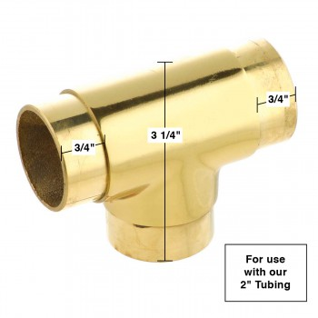"spec-<PRE>Polished Brass Flush TEE Fitting 2"" Bar Rail Connector </PRE>"