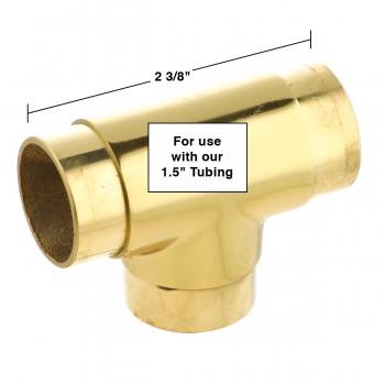 spec-<PRE>Brass Flush TEE Fitting 1.5&quot; OD Bar Foot Rail Connector </PRE>