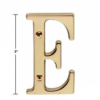 spec-<PRE>Letter &quot;E&quot; House Letters Solid Bright Brass 3&quot; </PRE>