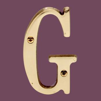 """<PRE>Letter inchG"""" House Letters Solid Bright Brass 3"""" </PRE>zoom2"""