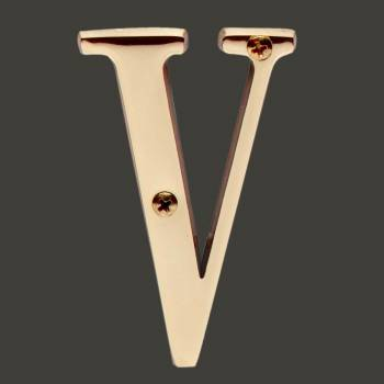 "spec-<PRE>Letter ""V"" House Letters Solid Bright Brass 3"" </PRE>"