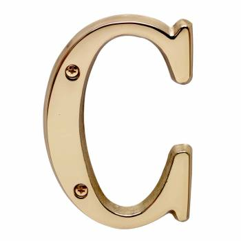 Letter C House Letters Solid Bright Brass 4