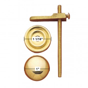 spec-<PRE>Cabinet Knobs Solid Bright Brass Turns to Latch 1&quot; </PRE>