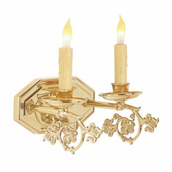 Sconce Bright Brass Double Wall Sconce 18773grid
