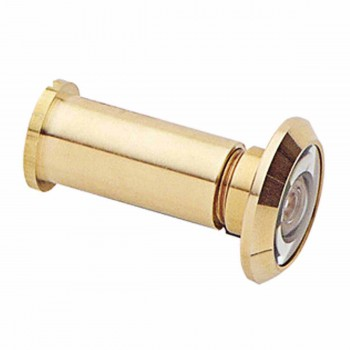 Door Peephole Viewer Brass 200 Degree View Adjustable Length 1 3/8