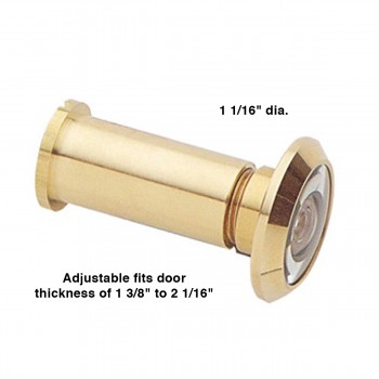 "spec-<PRE>Door Peephole Viewer Brass 200 Degree View Adjustable Length 1 3/8"" x 2 1/16""</PRE>"
