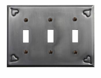 Switchplate Gray Tin Heart Triple Toggle 18844grid