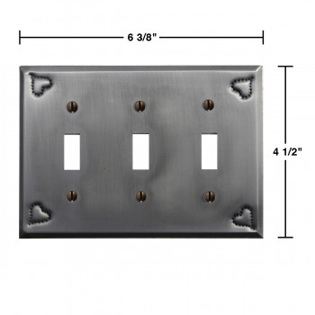 spec-<PRE>Switchplate Gray Tin Heart Triple Toggle </PRE>
