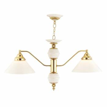 Chandelier Bright Brass/Glass 2 light 52 1/2H x 2 1/4W 18853grid