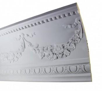Ornate Cornice White Urethane  75 34 L  Floral Bunting Ornate Ceiling Cornice Molding Decorative White Crown Molding Classy Crown Molding