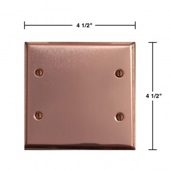 spec-<PRE>Switchplate Bright Solid Copper Double Blank </PRE>