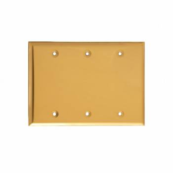 Switchplate Bright Solid Brass Triple Blank 18881grid