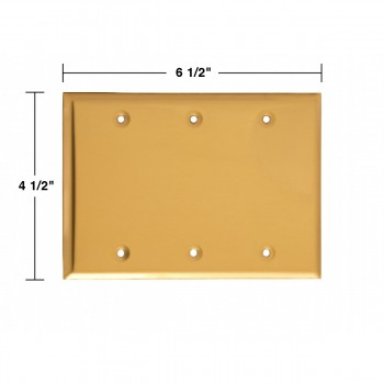 spec-<PRE>Switchplate Bright Solid Brass Triple Blank </PRE>