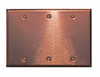 Switchplate Bright Copper Triple Blank 18885grid