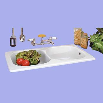 <PRE>Renovator's Supply Kitchen Farmhouse Drop-In Counter Sink Porcelain Double Bowl</PRE>zoom2