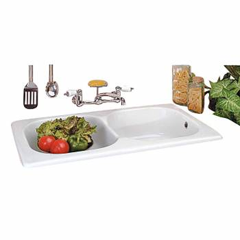 Renovator's Supply Kitchen Farmhouse Drop-In Counter Sink Porcelain Double Bowl18938grid