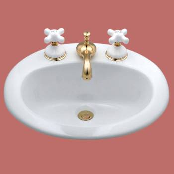 White  Drop-in Basin  8 in. Widespread Faucet - Vessel Sinks by Renovator's Supply.