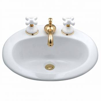 Above Counter Drop-in Bathroom Sink Self-Rimming White China18975grid