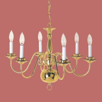 <PRE>Chandeliers Bright Brass 6 Lights 29&quot;H x 23&quot;W </PRE>