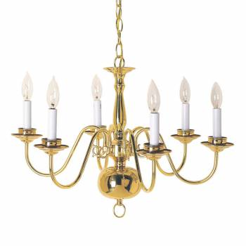 Chandeliers Bright Brass 6 Lights 29H x 23W