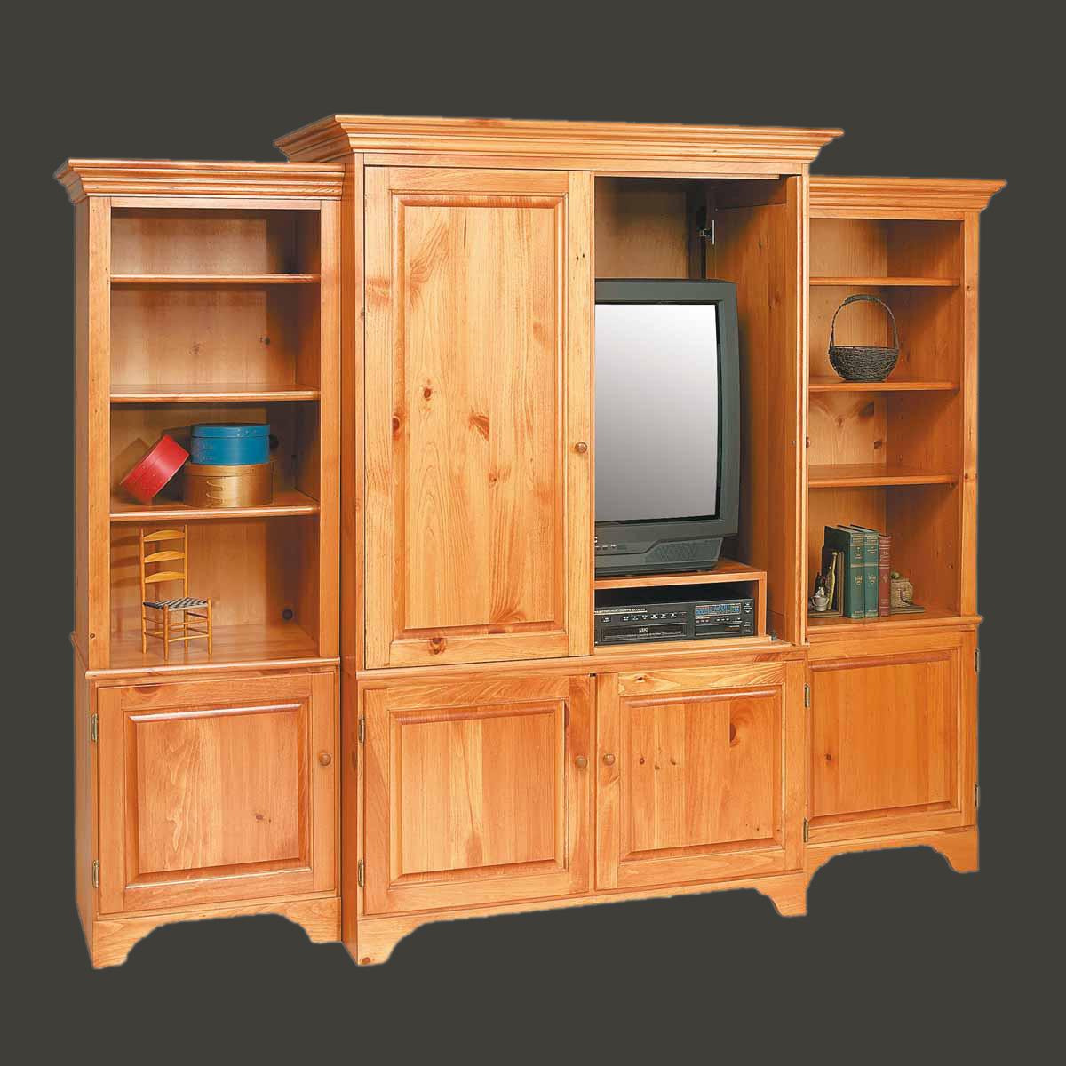 U003cPREu003eShaker Unfinished Pine TV Stands Entertainment Center Solid Natural ...