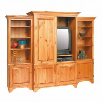 Shaker Entertainment Center Solid Pine Unfinished Natural Unfinished kit
