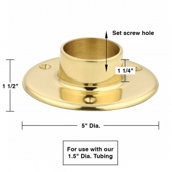 "spec-<PRE>Solid Brass 5"" Wall Flange Fitting 1.5"" OD Bar Foot Rail </PRE>"