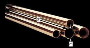 spec-<PRE>Bar Rail Polished Solid Brass Tubing RSF 2&quot; D x 3' L </PRE>